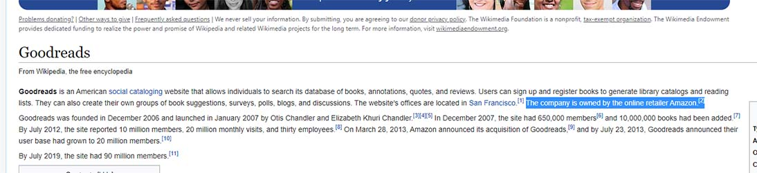 Screenshot of Goodreads Wikipedia page